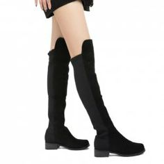 $20.06 Party Women's High Knee Boots With Color Block and Chunky Heel Design