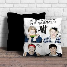 This is 5 Second of Summer pillow cushion -Removable poly/cotton cover pillows are soft and wrinkle free. -Hidden zipper enclosure. -Do not include insert. -Finished with a black or white back. -Machi