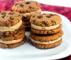 Flourless Peanut Butter Chocolate Chip Cookies with Peanut Butter Cinnamon Cream