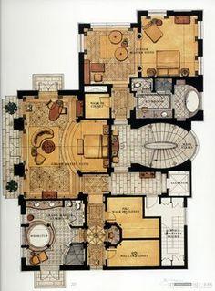 Home Building Design, Home Design Plans, Plan Design, House Design, Model House Plan, Dream House Plans, House Floor Plans, Luxury Floor Plans, Modern Floor Plans