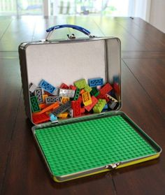 You can make any road trip your own personal Lego Land with DIY Lego travel boxes. Buy a flat Lego surface and attach it to the inside lid. You can even glue one onto a travel tray. Look at you getting crafty!