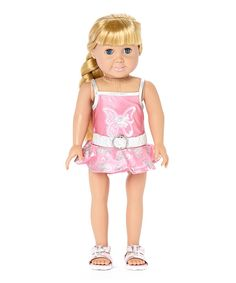 Look at this Silver & Pink Bathing Suit & Sandal Set for 18'' Doll on #zulily today!