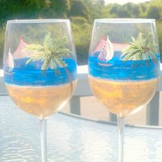 Beach scene hand painted wine glass by GlassesbyJoAnne on Etsy, $30.00