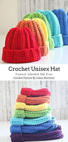 Crochet Ribbed Unisex Hat In All Sizes Crochet Ribbed Unisex Hat In All Sizes<br> This simple ribbed unisex crochet hat works up quickly and you can make it for the whole family with a crochet pattern available in seven different sizes. Crochet Simple, Easy Crochet Hat, Crochet Kids Hats, Crochet Beanie, Crochet Clothes, Free Crochet, Knitted Hats, Booties Crochet, Crotchet