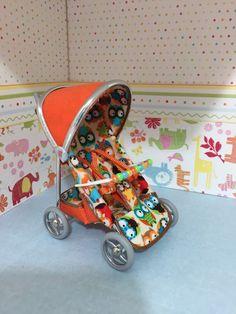 1/12th scale dollshouse modern pushchair/stroller, bright orange with cute owls