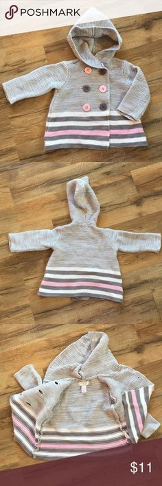 Beautiful double breasted hooded infant sweater! Perfect for Spring! Gray pink and white hooded knit sweater Size 3-6 months 12-17 pounds First Impressions Play 60% cotton and 40% acrylic First Impressions Shirts & Tops Sweaters