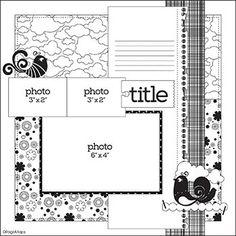 Scrapbook Layout Sketches, Scrapbook Templates, Card Sketches, Scrapbook Paper Crafts, Scrapbooking Layouts, Mini Scrapbook Albums, Scrapbook Cards, Map Sketch, Pattern Sketch