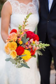 18 Red Wedding Bouquet Ideas: Cheerful and bright red, orange, yellow and pink bouquet {Images by Berit}