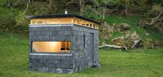 Slate Cabin, Snowdonia National Park, cabin, Trias, local materials, reclaimed materials, green architecture, natural light, birch, slate tiles, stone facade