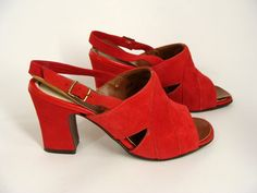 #vintage 60s 70s Red Suede Chunky Sandals Heels Shoes size US size 5 1/2 NOS never worn by wardrobetheglobe, $44.44