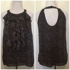Eci NY Leopard Print Ruffle Top w/Cut Out Back Adorable grey leopard ruffle sleeveless blouse by Eci NY. Cut out back and buttons at back of neck. Size 10. Fits like a med/l. Measurements upon request. NWOT. ❌ NO TRADES ❌ NO LOWBALLING ❌ ECI Tops Blouses