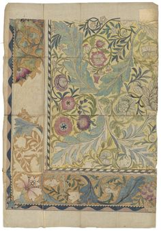 William Morris, Design for an embroidered panel with border, 1878. Part of the May Morris Bequest, V&A