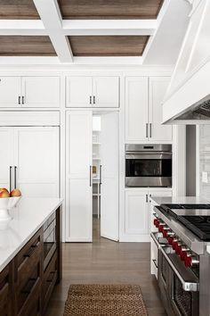 Hidden kitchen pantry concealed in a white shaker kitchen with orb pulls. White Shaker Cabinet Doors, White Shaker Kitchen, Kitchen Cabinet Doors, Pantry Doors, Wooden Pantry, White Pantry, Blue Shelves, Hidden Kitchen, Smart Kitchen