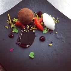 "Chocolate mousse ""truffle"" , hibiscus, pistachio , blood oranges and white chocolate sherbet...#chocolate#pastry#dessert#madronamanor#theartofplating#gastroart"