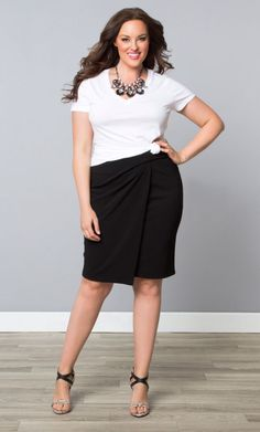 Uptown Faux Wrap Skirt, Black Noir (Women's Plus Size) From the Plus Size Fashion Community at www.VintageandCurvy.com