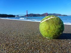 The Lone Tennis Ball by Fabien White Print Pictures, Golden Gate Bridge, Lonely, Cool Photos, Tennis, Things To Think About, Walking, California, Printed