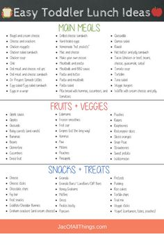 A complete list of school lunch ideas for kids! (Even for the picky eater!) Read more for quick and easy ideas on what to pack for lunch for preschool or daycare. Includes cold (no heat) lunches, hot and thermos lunches, sandwich and non-sandwich options, and healthy vegetarian lunches. Download your free printable list of lunchbox ideas filled with fun, simple, and yummy lunch ideas that toddlers will actually eat! The best toddler lunch ideas for daycare. #toddlers #backtoschool #lunchbox Easy Toddler Lunches, Toddler Menu, Easy School Lunches, Kids Lunch For School, Healthy Toddler Meals, Lunch Ideas For Toddlers, Preschool Lunch Ideas, Simple Lunch Ideas, Kid Lunches