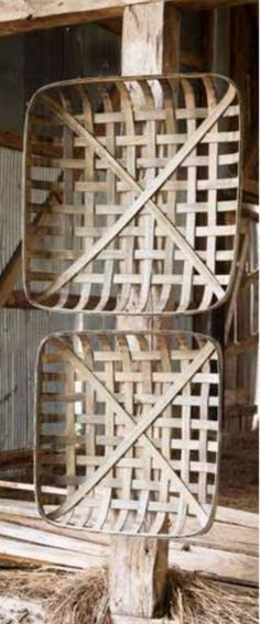 "Vintage style oversized square tobacco baskets. Available in two sizes. Small: 24"" sq x 4"" d Large: 28"" sq x 4"" d"