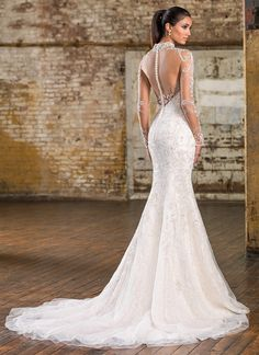 Justin Alexander Signature Collection, Style 9832 - Beaded illusion tulle Mandarin neckline, illusion back neckline, and sleeves, adorn this Signature allover beaded tulle and lace fit and flare gown with a chapel length train. https://www.justinalexanderbridal.com/signature_wedding_dresses/9832