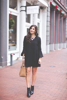 little black dress, wayf black dress, black flare dress, black shift dress, crystal statement necklace, black booties, winter fashion, winter style // grace wainwright from a southern drawl