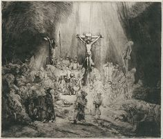 "Rembrandt Harmensz. van Rijn - Christ Crucified Between the Two Thieves (""The Three Crosses"") - The Three Crosses, etching by Rembrandt, 1653, State III of V"