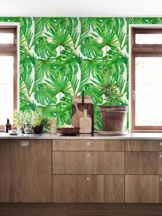 Watercolor monstera leaves wallpaper, Palm leaves temporary wall decal, Tropical wallpaper,  BW005 de BohoWalls en Etsy https://www.etsy.com/es/listing/280041126/watercolor-monstera-leaves-wallpaper
