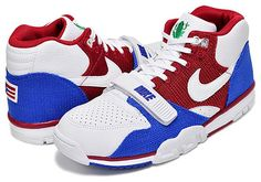 NIKE AIR TRAINER 1 MID PREMIUM QS PUERTO RICO [WHITE / GYM RED / GAME ROYAL] (607081-102)