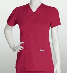 Grey's Anatomy Scrubs - 3 Pocket Mock Wrap Top With Tab Back (Junior Fit) Size: XS Color: watermelon Greys Anatomy Scrubs, Fit Back, Scrub Tops, Dresses For Work, Grey's Anatomy, Fabric, Color, Punch, Watermelon