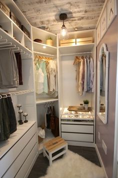 A beautiful dream closet makeover! I LOVE the organization ideas. Such a great use of a small space. Small Walk In Closet Ideas, Small Walk In Wardrobe, Small Master Closet, Closet Ideas For Small Spaces Bedroom, Small Walking Closet, Diy Closet Ideas, Walk In Closet Design, Walk In Closet Organization Ideas, Small Closet Redo