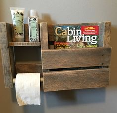 This toilet paper/Magazine holder looks wonderful in a modern rustic bathroom. Displays your toilet paper and additional items on its sturdy shelf, while also keeping your favorite magazines beautifully displayed! Dimensions 18.5x12x4 The natural style of the wood we choose varies from board to board. Like a snowflake, no two pieces of wood are the same, so expect minor variations such as tiny cracks, knots, and nail holes, all of which display the history of your piece. At our worksh...