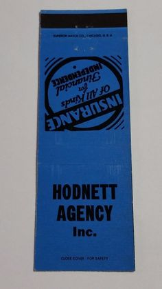 HODNETT AGENCY INC. #Matchcover To order your business' Own Branded Advertising #matchbooks or #matchboxes GoTo: www.GetMatches.com or CALL 800.605.7331 Today!
