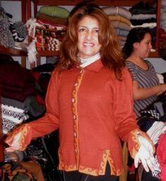 Orange cardigan with embroideries, alpaca wool