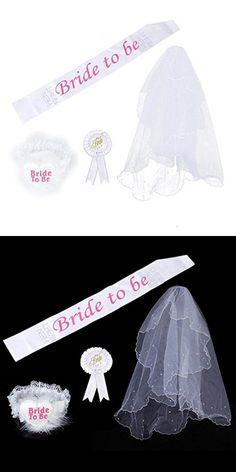 Malloom Bride to Be Badge Rosette Sash Garter 2T Veil for Wedding Shower Hen Night Party