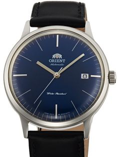 Orient AC0000DD Bambino version 3 dress watch features an automatic movement that hand winds and hacks. It has a blue dial with silver applied hour markers, silver hands, and a solid screw-in case back.