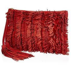 River Island Red leather fringed clutch bag ($70) ❤ liked on Polyvore featuring bags, handbags, clutches, bags / purses, clutch bags, red, women, leather purse, fringe purse and genuine leather purse