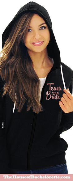 "Show your team spirit and have a blast at the bachelorette party! Our Team Bride hoodies make the perfect ""uniform"" for the group of friends that loves to play together! Our lightweight hoodies are fantastic for layering over your cutest cocktail dress to keep a bit warmer, or as a cover up for your beachside or poolside bash! Bachelorette Party Scavenger Hunt, Nautical Bachelorette Party, Diamond Glitter, Rose Gold Glitter, Cute Cocktail Dresses, Cute Dresses, Diamond Icon, Colorful Hoodies, Team Bride"