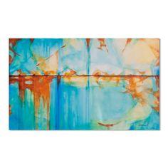 Großen Türkis blau grün und Orange abstrakte Malerei von Artoosh