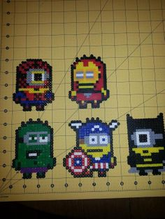 Avengers Minion Series Magnets perler beads by PerlerBeadBeauty