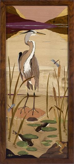 Shipping included HRI - 613 - Heron Marquetry picture by Jeff Nelson, x 227 piece inlay featuring 21 species of wood and Mother of Pearl. Wooden Art, Wooden Crafts, Beautiful Artwork, Cool Artwork, Guitar Inlay, Intarsia Patterns, Intarsia Woodworking, Wood Veneer, Box Art