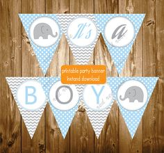 It's A Boy Blue Grey Baby Shower Elephant by RedRedRoseHandmade