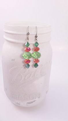Red and Green dangle earring by gr8byz on Etsy