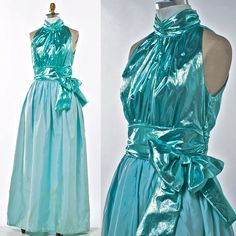 SOLD-Vintage Aqua Evening Gown 70's Barbie Doll Style by prettyinprague