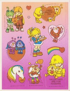 Peel Here Finally, Rainbow Brite 1980 Cartoons, Happy Valentines Day Card, Rainbow Brite, Love Stickers, Vintage Advertisements, Signs, Childhood Memories, Cards, Ephemera