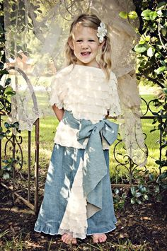 Shabby Chic Ruffle Top, Jean Sash & Jean Skirt12 Months to 16 YearsAmazing for Fall Portraits!A Fall Must Have!