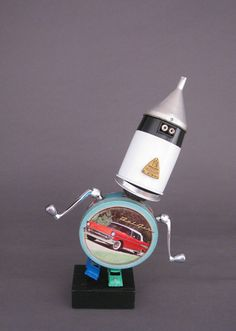 ROBOT+SCULPTURE++Metal+art+sculpture+Junk+by+CastOfCharacters23,+$135.00