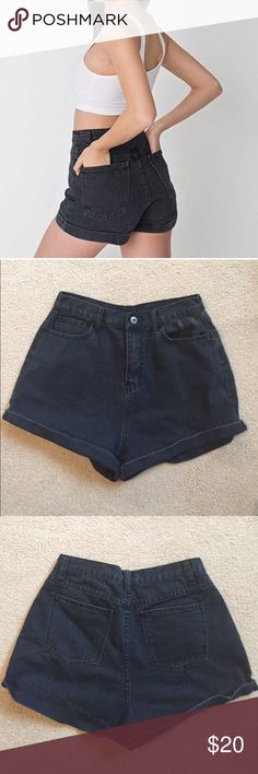 Black high waisted shorts Black high waisted shorts in a size large from Forever 21 Forever 21 Shorts Jean Shorts