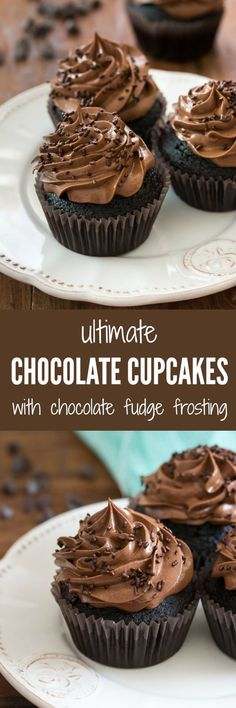 The ultimate chocolate cupcakes - perfectly moist and insanely chocolaty, topped with a supreme fudge chocolate frosting | prettysimplesweet...