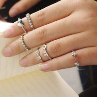 Estilo de moda 6 unids Rhinestone de la aleación punky anillos moda mujeres encanto del joyería gota del envío RING-0217