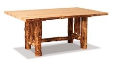Amish Rustic Log Solid Top Trestle Dining Table Gorgeous rustic dining table. Pick from pine, aspen or cedar logs for yours!