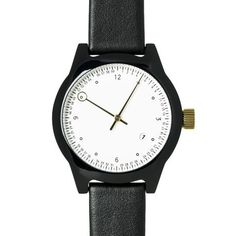 SQ03 Minuteman, Two Hand, Black with Black Leather Strap
